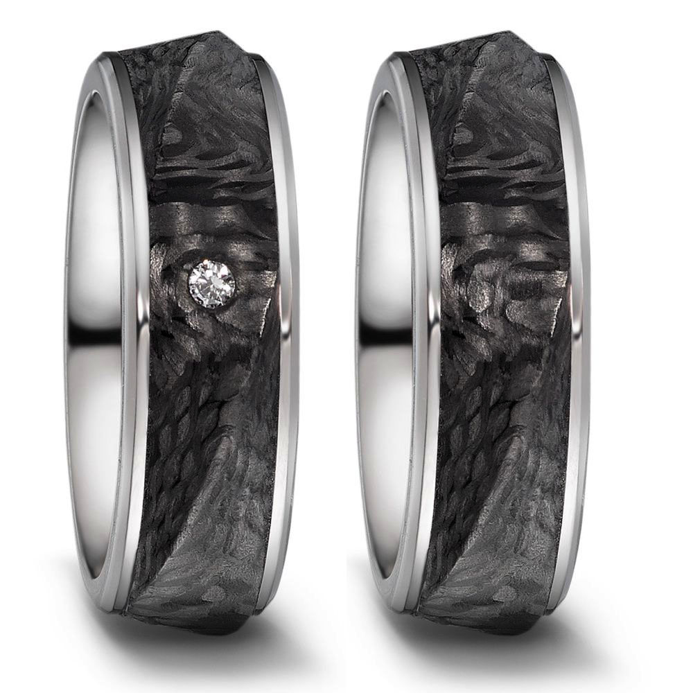Moderne Titan Partnerringe Eheringe mit schwarzer Carboneinlage  und Strukturierung mit Diamant Tita