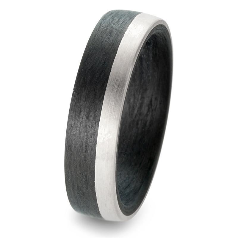 Schöne Carbon & Palladium 500  Partnerringe Eheringe mit Brillanten 59317/003/003/NU55