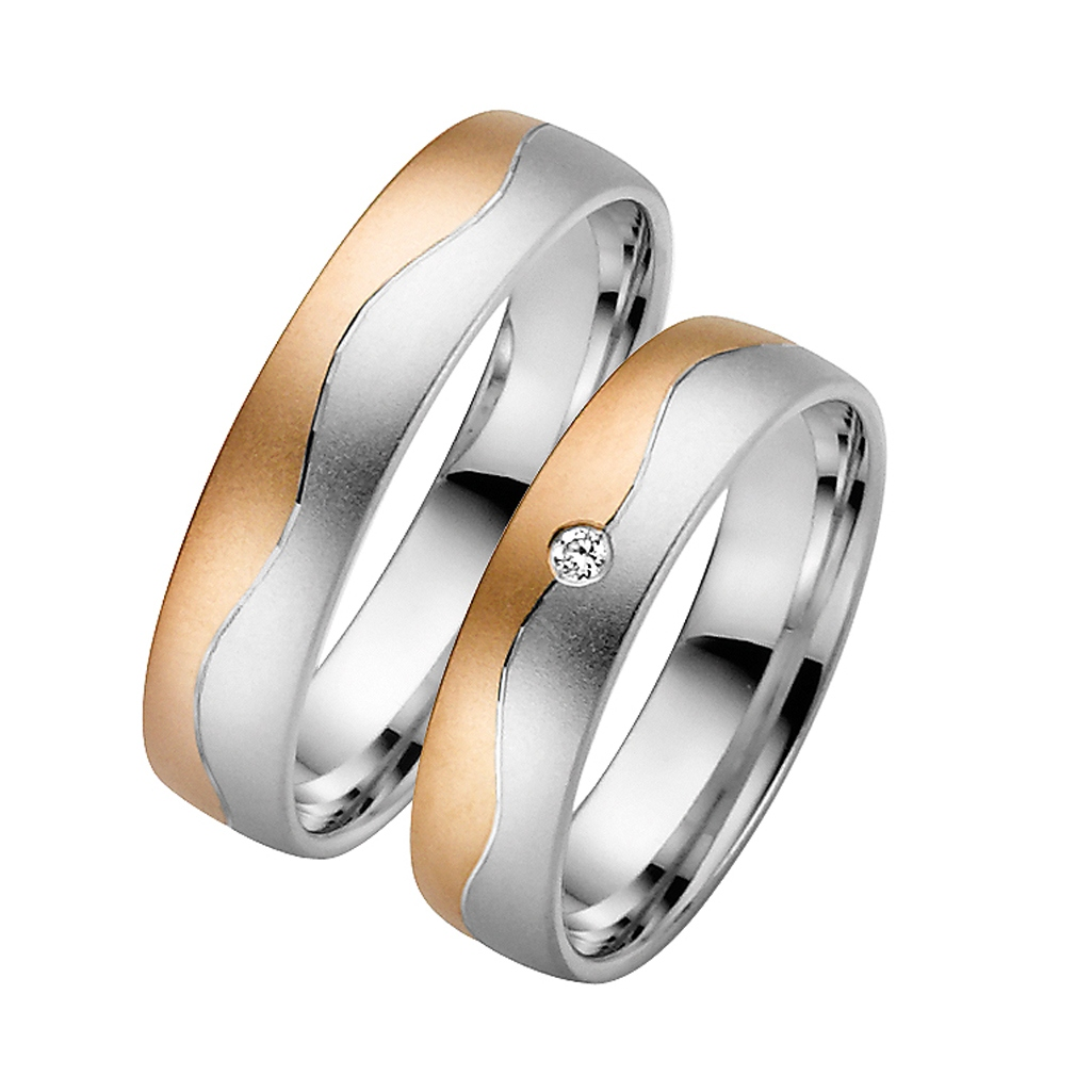 Eheringe silber rosegold  Bicolor Hochzeitsringe Rotgold MyTrauring 50422 Rauschmayer