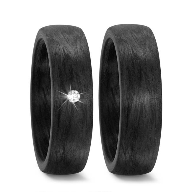 Schwarze Partnerringe Eheringe aus Karbon Marmoriert Maserung mit Diamant TitanFactory 59279