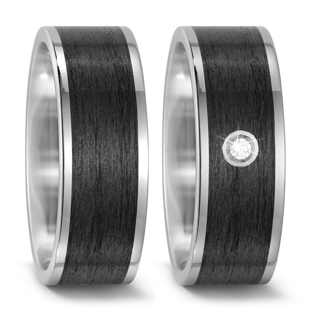 Moderne Titan  & Carbon Partnerringe Eheringe mit schwarzer Carboneinlage mit Diamant TitanFactory 5