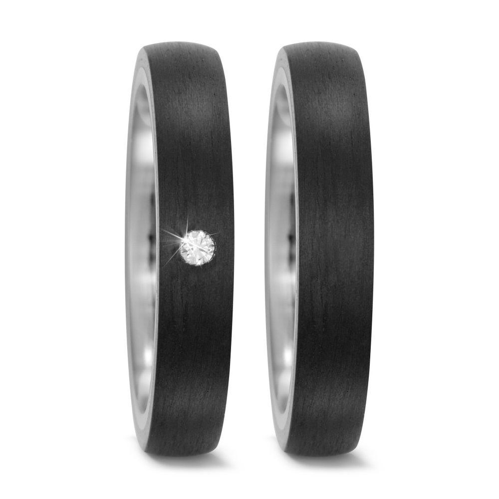 Carbon und Titan Partnerringe Eheringe mit Diamant TitanFactory 52514