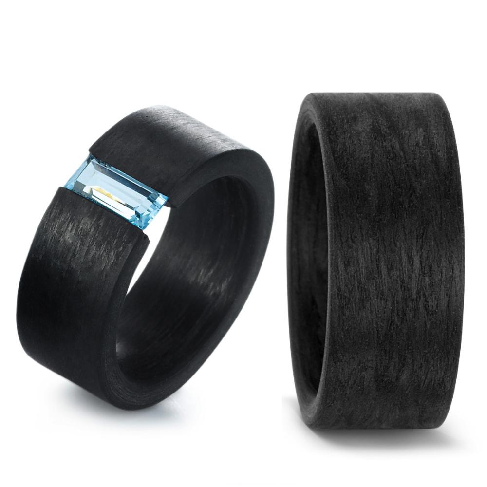 Moderne Eheringe Trauringe Aus Carbon Mit Blauem Topas