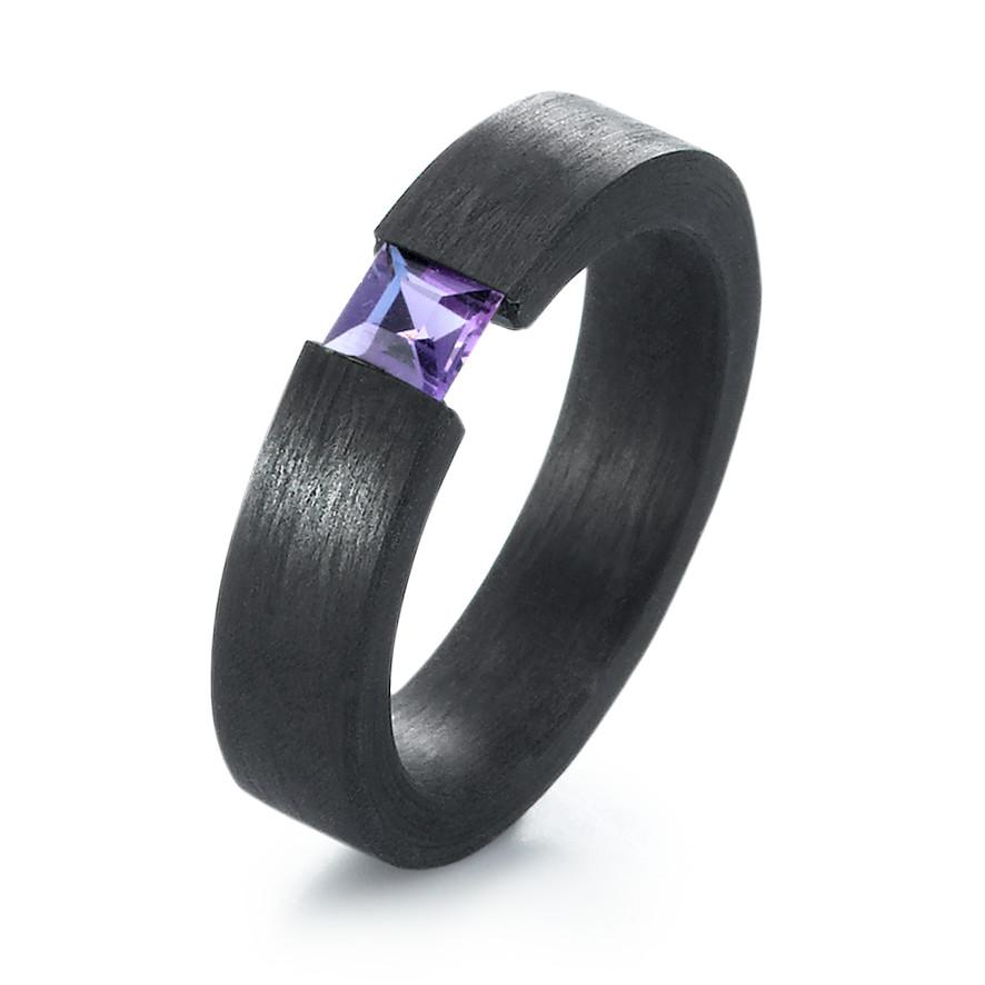 Verlobungsring Aus Schwarzem Carbon Mit Amethysten
