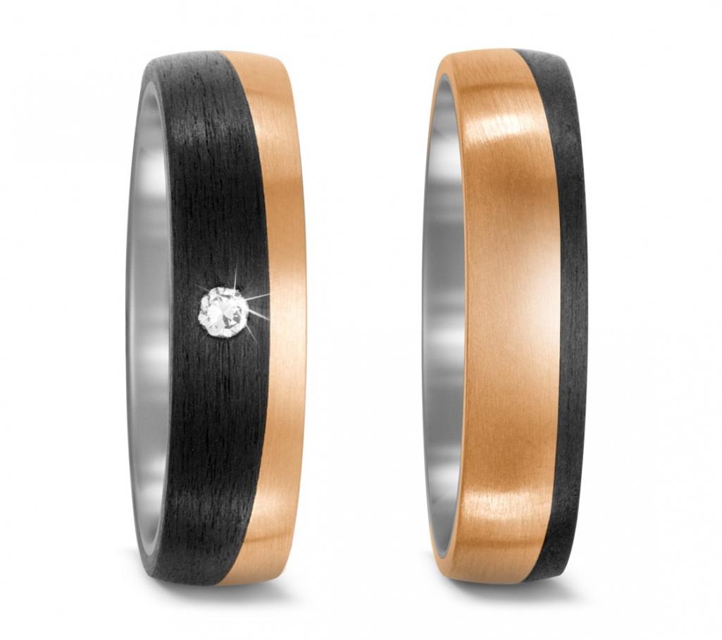 Partnerringe Eheringe aus Titan längsmattiert mit Diamant TitanFactory 52534