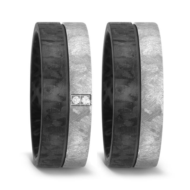 Carbon und Titan Partnerringe Eheringe mit Diamant TitanFactory 52517