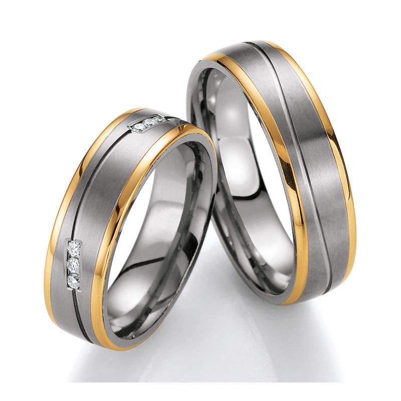 Eheringe Trauringe aus Titan & Gelbgold mit Diamant Ruesch Collection Nowotny 78/80010-060