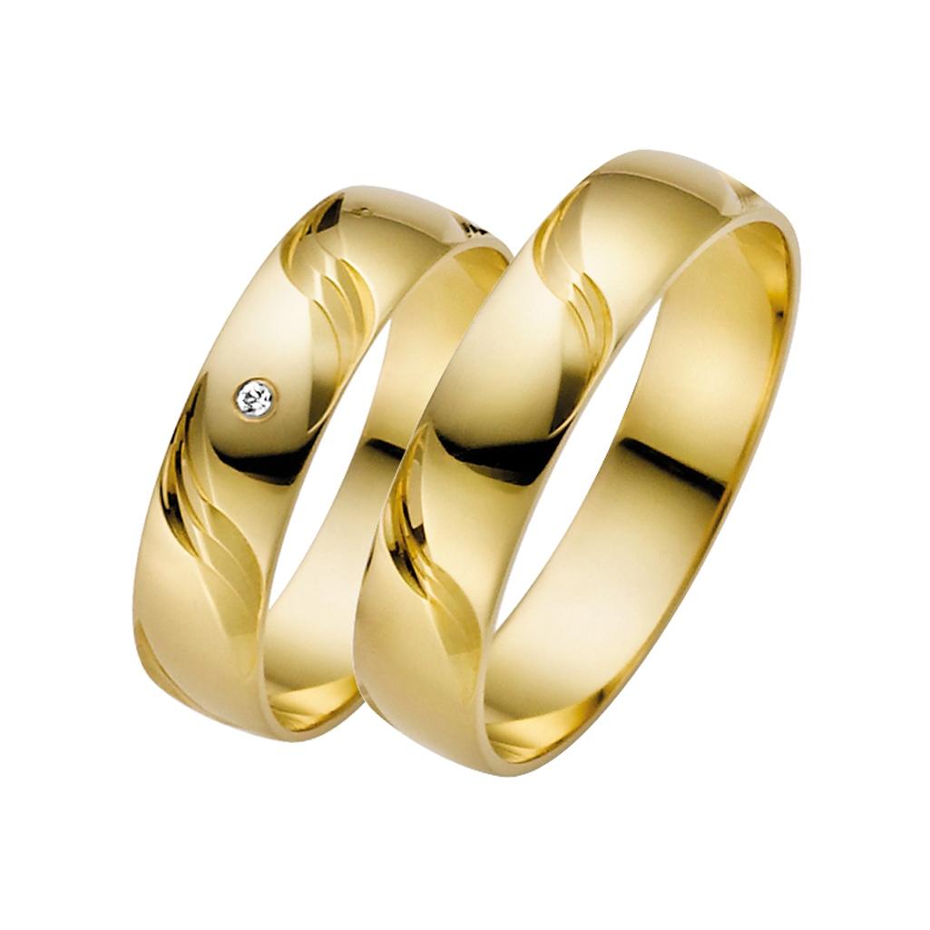 Eheringe Trauringe mit Wellenmuster, Gelbgold Ringe mit Wellen, polierte Gelbgold Ringe mit Wellen,