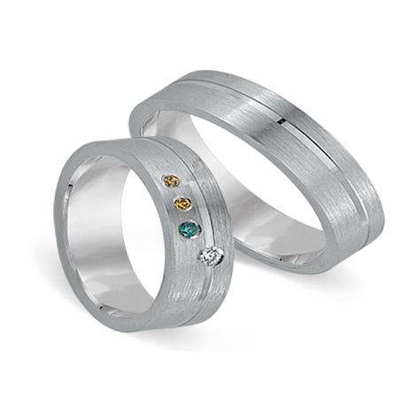 Partnerringe weißgold günstig  Hochzeitsringe bunte Diamanten Cera 3326